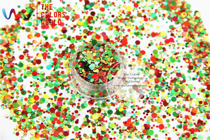 цена на Xmas-284 Mixed Laser Holographic Colors Round Dot Shape Glitter Sequins for nail art and DIY Christmas decoration