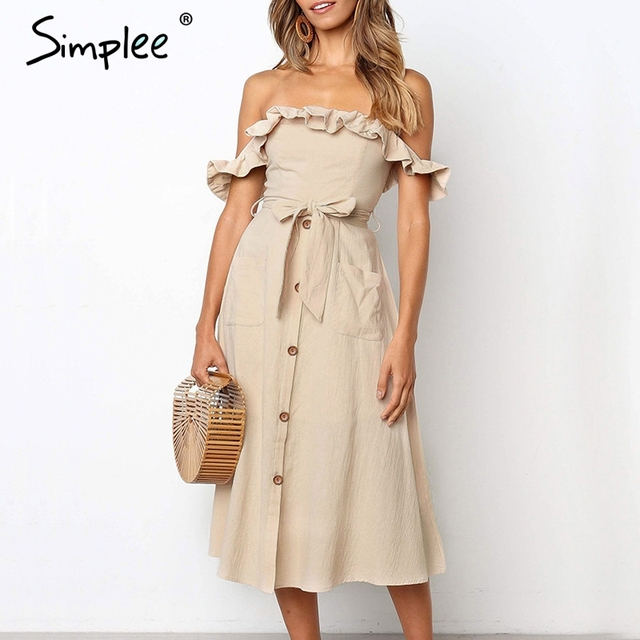 2b13380aa79a Simplee Sexy off shoulder ruffle women dress Elegant black button cotton summer  dress Casual female midi lady vestidos festa
