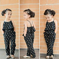 Summer Baby Girls Rompers Sets Stylish Toddler Kids  Spaghetti Strap Heart Pattern Prints Jumpsuit Trousers with Belt -17 BM88