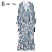 Women Blue Print Boho Maxi Dress Floral Deep V Neck Ruffle Long Sleeve Summer Dress Female