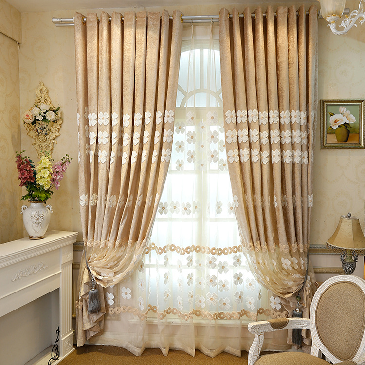 HiGh-Grade Chenille Stitching Embroidered Curtains Living Room Curtains Kitchen Voile Crochet Room Divider Factory Direct brown