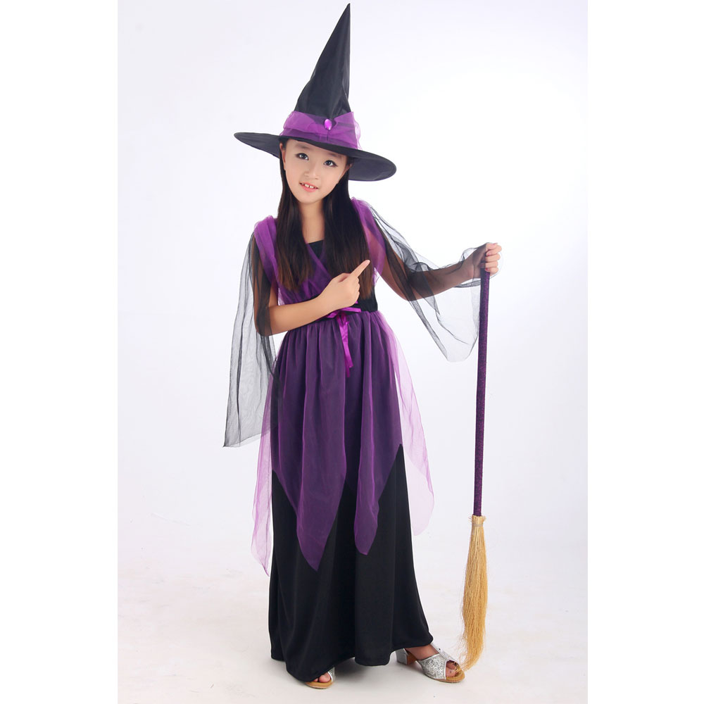 Halloween Costumes Girl Black Fly Witch Costume Dress and Hat Cap ...