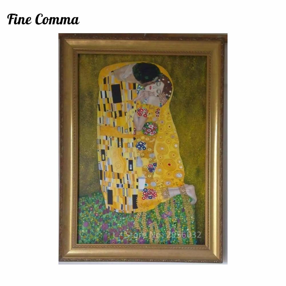 Poljub (ljubimci) avtorja Gustav Klimt slikarstvo na platnu stenske - Dekor za dom - Fotografija 3