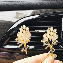 Flower Diamond Crystal Car Air Circulation Perfume Clip Freshener Balm Interior Accessories Female Gift for girl