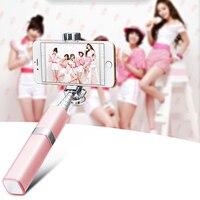 Moda cable rosa selfie stick 180 grados de rotación universal de mano 4S 5 5S Selfy Palo Para Iphone4 6 6 s 6 más android, galaxy