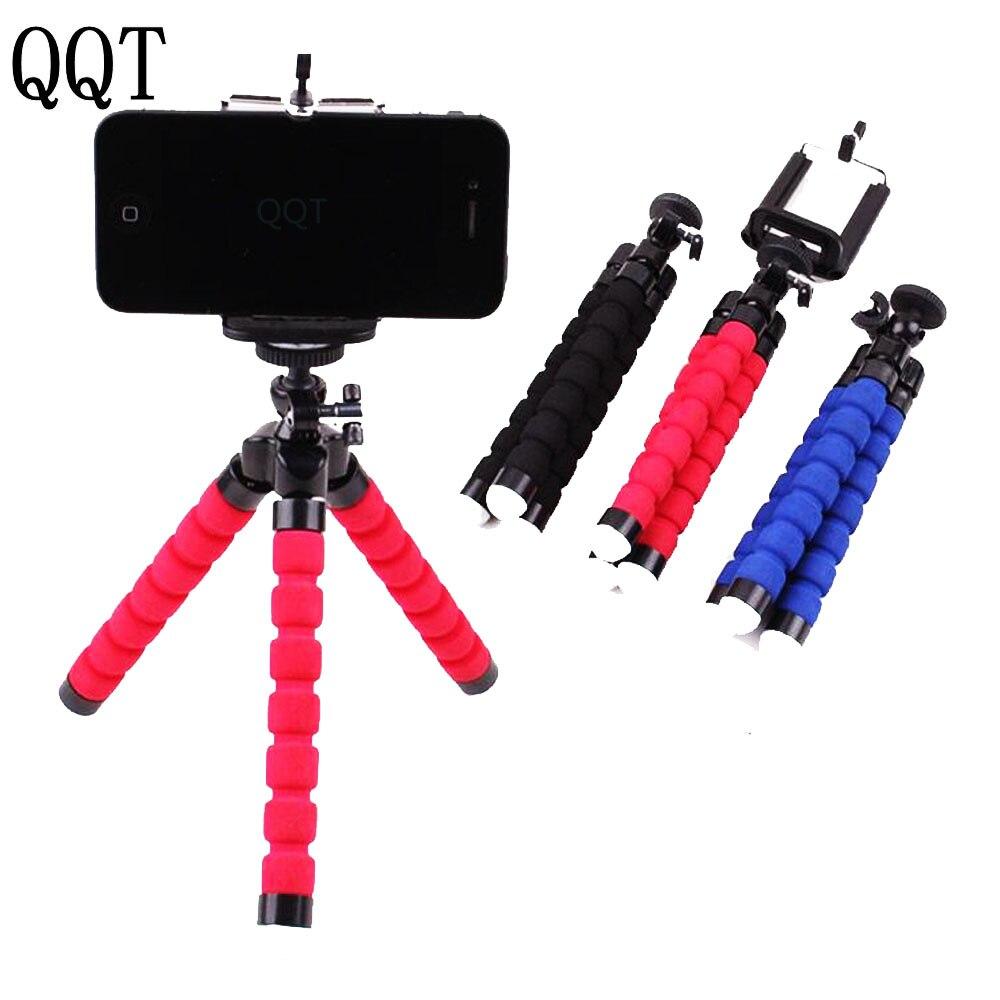 QQT Flexible Octopus Sponge Tripod for iPhone Samsung Xiaomi Huawei Mobile Phone Smartphone Tripod for Gopro DSLR Mount Camera