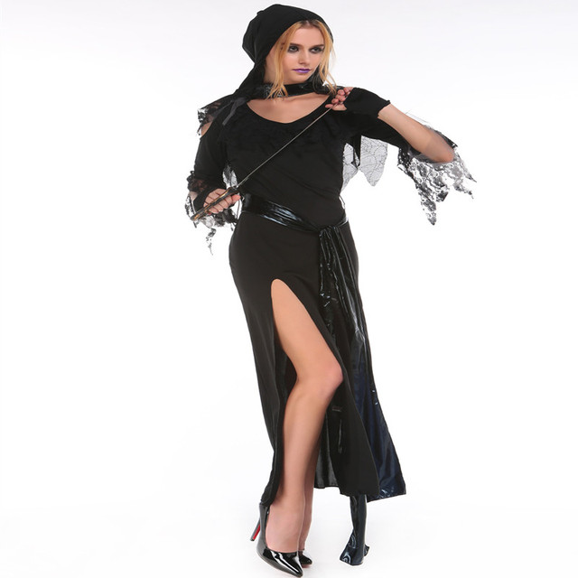 2018 New Anime Halloween Costumes For Women Long Black Witch Dress