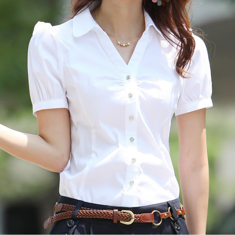 2019 Summer Women's Short Sleeve Cotton   Blouses     Shirts   Plus Size Ladies Officewear Elegant   Blouse   Feminina White Formal   Shirt