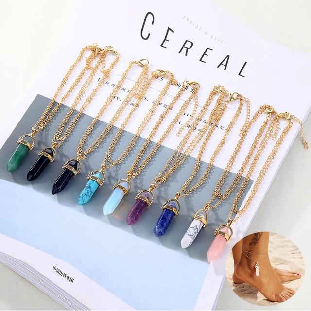 AILEND Opal Anklet Bracelet 2019 Ladies New Natural Crystal Stone Pendant Anklet Bracelet Bohemian Legs, Elder Gifts
