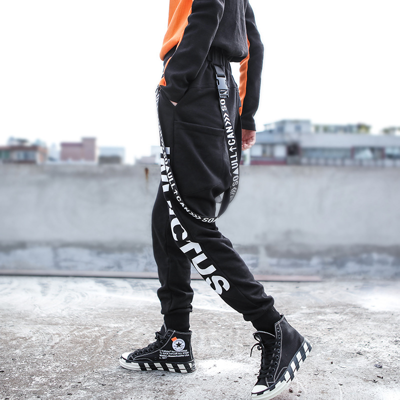 2018hip-hop femmes porter avec polaire taille haute ceinture pantalons de survêtement imprimé pantalon petite jambe