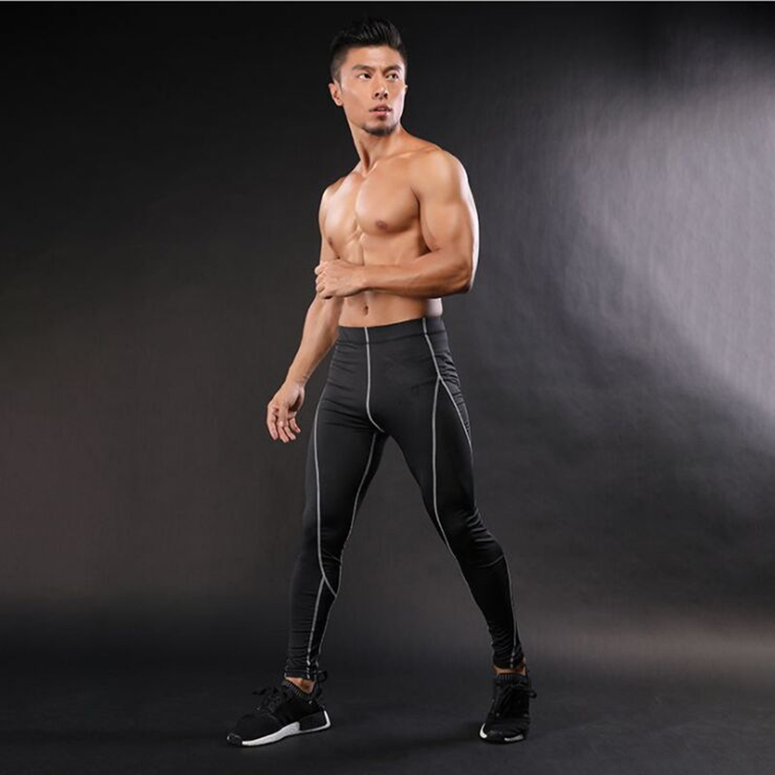Men Compression Pants Spliced Skinny Tights Line pants Fitness Elastic Bodybuilding Sweatpants Trousers Gray