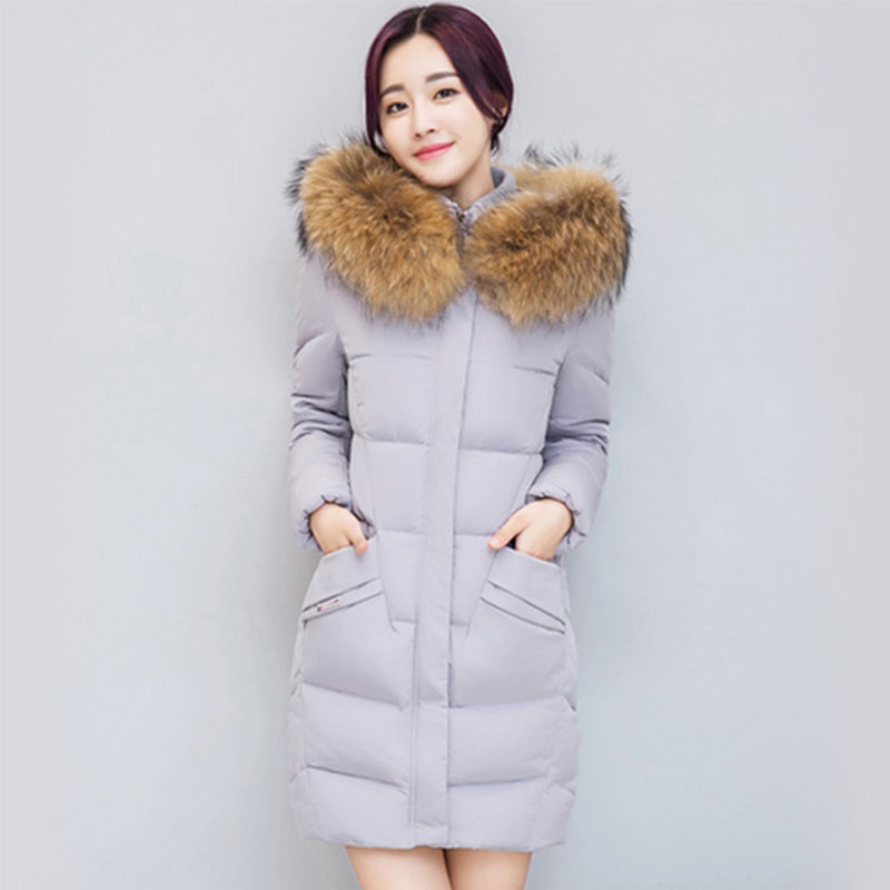 Long Thicken Fur Collar Hooded   Down     Coats   Women Solid Slim Cotton   Down   Jackets Ladies Fashion Loose Warm Outwears High Quality