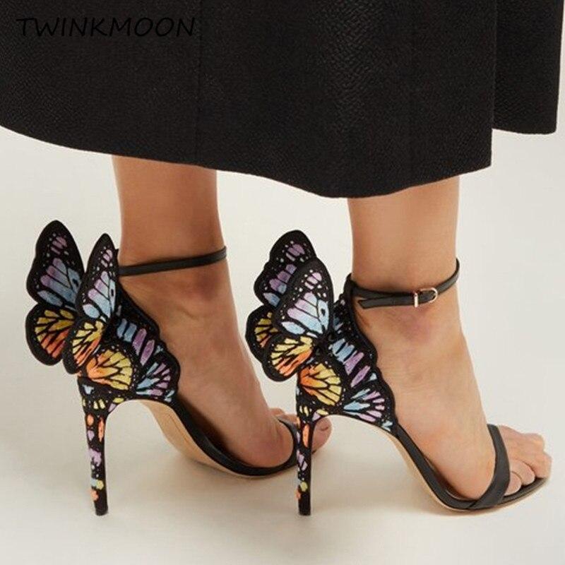 금속 수 놓은 나비 샌들 가죽 3d 천사 날개 하이힐 여성 신발 발목 랩 파티 신부 샌들 여름 2019-에서하이힐부터 신발 의  그룹 3