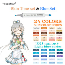 TOUCHNEW 20/24Colors Skin Tone Marker Blue Set Sketch Markers Pen For Drawing Portrait Animation Blue color sea Art Supplies
