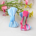 New Sold By Piece Girls Hair Accessories Candy Color Stripe Bow Hairpins Cute Baby Barrettes Bowknot Hair Clips Wholesale