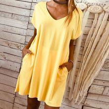 Ladies Womens Casual Plain V Neck Loose Pockets Long Top Mini Dress Plus Size