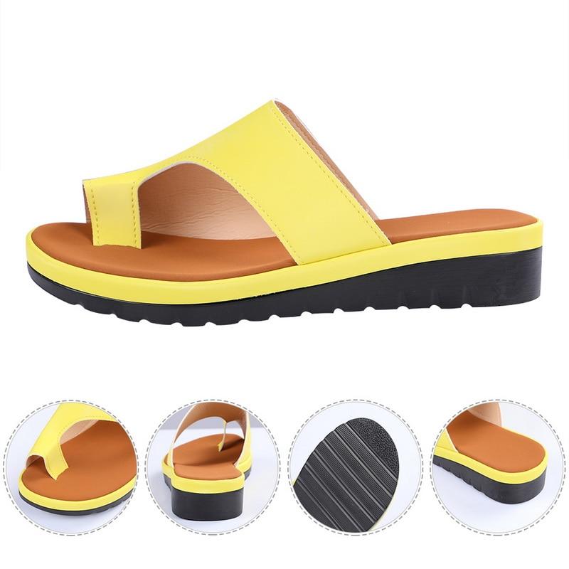 HTB1rwJzXMaH3KVjSZFjq6AFWpXa8 Puimentiua Women slippers Flat Sole Casual Soft Big Toe Foot Sandal Women Shoes Comfy Platform Orthopedic Bunion Corrector