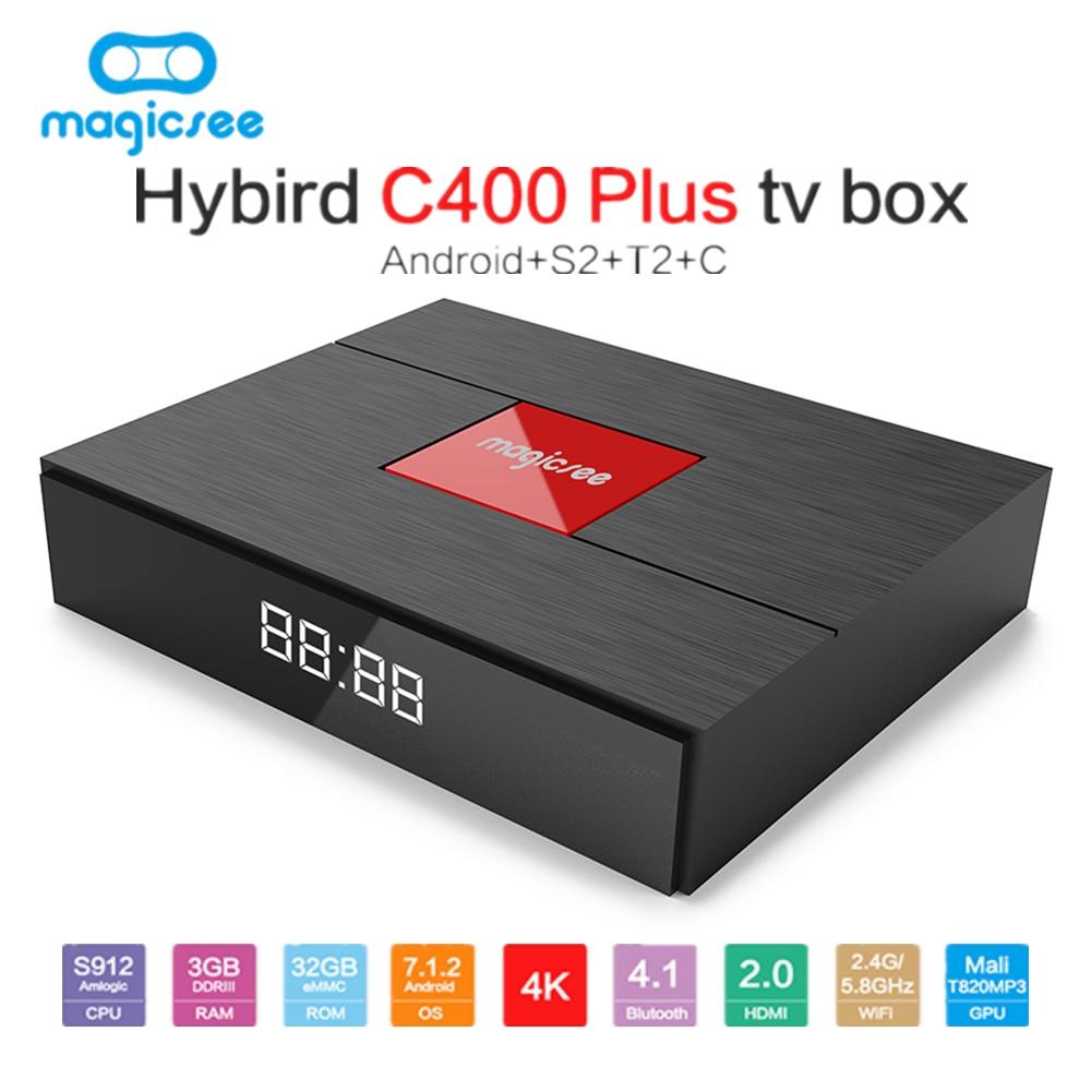 Magicsee C400 Plus Hybird S2 + T2 + C TV Box Android 7.1.2 Amlogic S912 3 gb RAM 32 gb ROM Set Top Box 2.4g/5g WiFi 100 m Bluetooth4.1