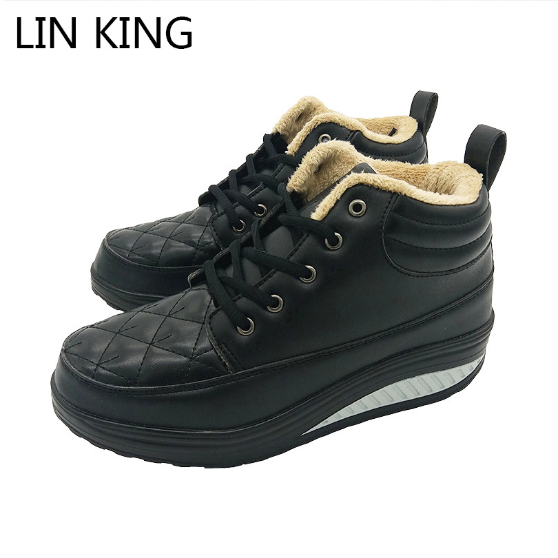LIN KING New Warm Plush Women Winter Boots Wedges Elevated Ankle Shoes Fashion Platform Swing Shoes Lace Up Snow Boots For Lady lin king new women slimming swing shoes height increasing ankle boots lace up elevator shoes outdoor travel muffins single shoes