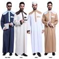 Al por mayor y Al Por Menor de Los Hombres Blancos de Manga Larga Vestido de Los Hombres La Ropa Islámica Thobe Musulmán Más tamaño XXXL Arabia Árabe Musulmán Jurk