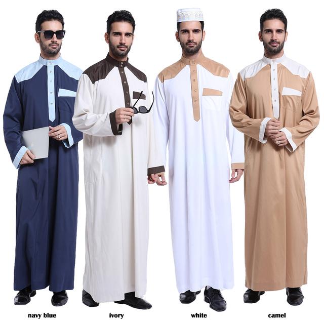 Atacado & Varejo Homens Thobe Homens Vestido Branco Manga Longa Vestuário Islâmico Muçulmano Plus Size XXXL Árabes Da Arábia Saudita Moslim Jurk