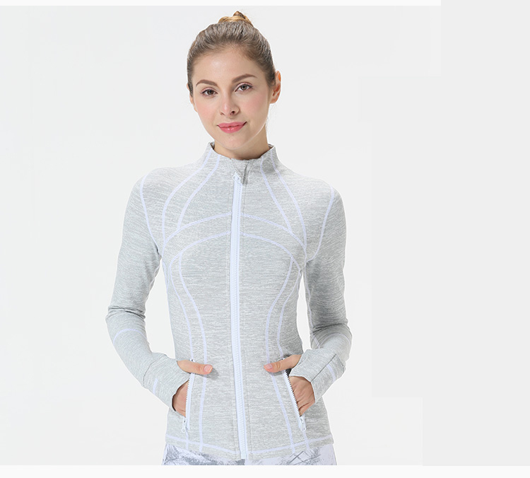 Gray white classic U Fall Winter yoga running sport jacket for women's Windproof breathable outdoor coat