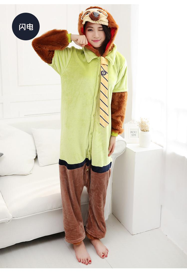 Adult Animal Onesi Pajamas Zootopia Sloth Flash Cosplay Costume Flannnel Warm One Piece Sleepwear Couples Cute Kugurumi Siamese