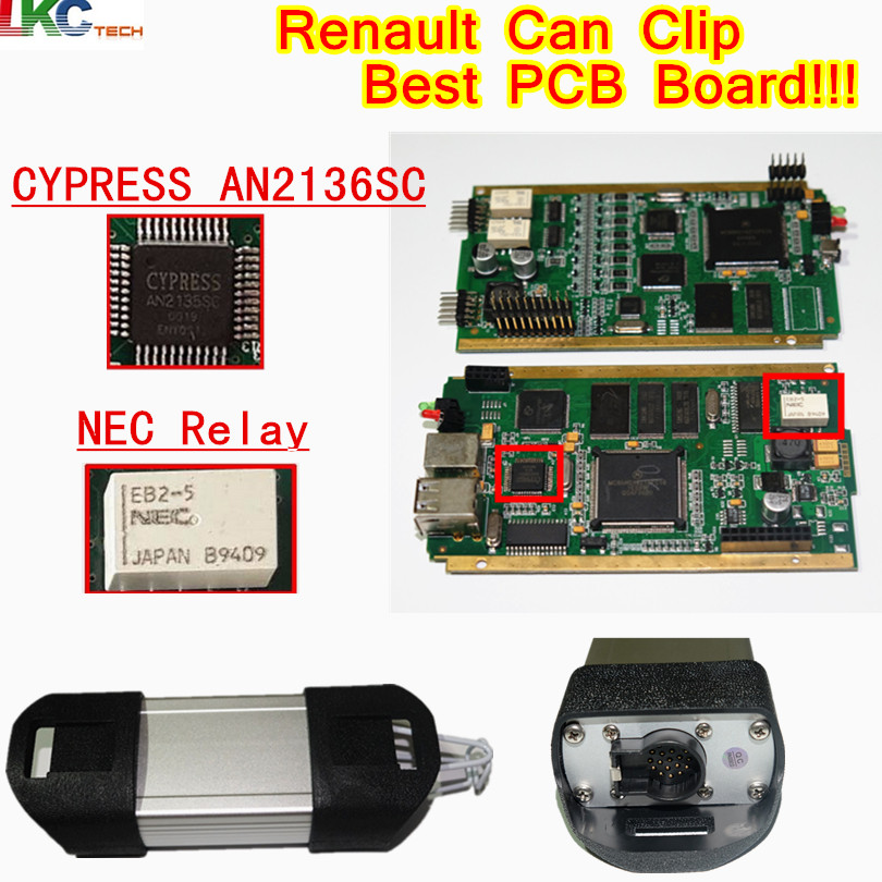 Best Re-nault Can Clip Full Chip CYPRESS AN2135/2136 SC Chip V178 OBD2 Diagnostic Tool For Re-nault Code Scanner 2018 newest v178 for renault can clip full chip gold cypress an2135sc 2136sc chip nec relay obd2 interface diagnostic scanner