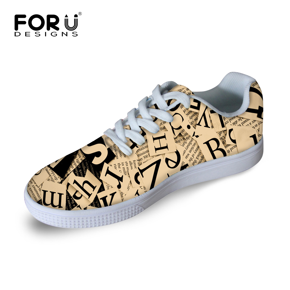 ФОТО FORUDESIGNS Vintage Newspaper Style Men's Casual Flat Shoes 2017 Spring Fashion Light Weight Lace-up Shoes Man Students Footwear