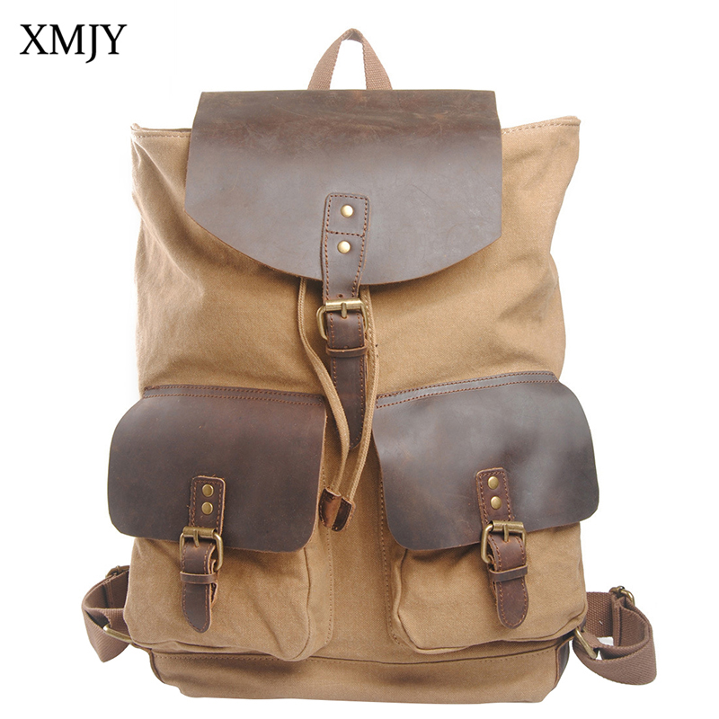 XMJY Canvas Backpack Men Women Fashion Vintage Travel Bags High Quality Canvas with Leather Leisure Student Schoolbag Rucksack