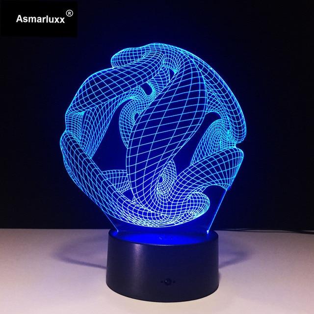 Abstract Circle Spiral 3D LED Light 4