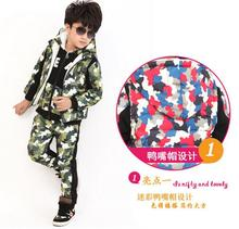 Осень зима новый детский с длинным рукавом одежда камуфляж и бархат для мальчика и девочка флис костюм-тройку утолщаются 3 цветов