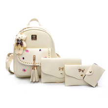 Для женщин модные кожаные кисточкой 4 шт./компл. Composite Backpack Школьные сумки для подростка Обувь для девочек Леди Путешествия Рюкзаки Mochila Feminina