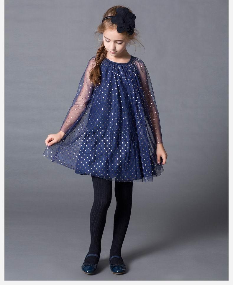Retail 2016 Summer New Girl Dress Children Kids Gold Love Heart Gauze Princess Dress 2-11Y 6515 retail 2016 girl dress gauze princess dress party dress children performing dress 2 12y 303