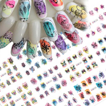 1 Sets Water Colorful Mixed Animal/Flower/Dream Catcher Tips Gradient Sticker Nail Slider Manicure DIY Decor Tools CHBN409 444