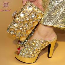 ef93bf0c7ac Boda de oro zapato y bolsa mujer Zapatos y el conjunto de bolsas en Italia  diseño italiano Zapatos con juego de bolsa decorado c.