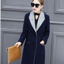 Winter jacket women Elegant Long Sleeved Slim Warm Woolen Coat femininos blue and gray casacos plus