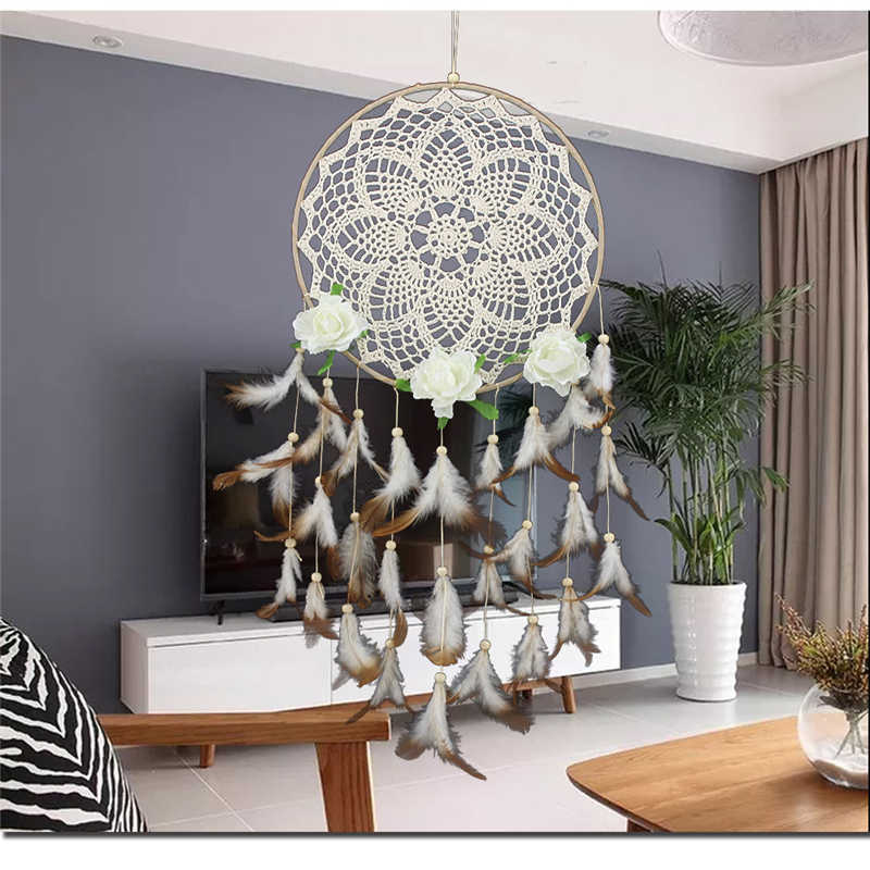 Home Decor Decoration Craft Big Large Metal Ring Round Circle DIY Handmade Feather Indian Rustic Hanging Bedding Dream Catcher
