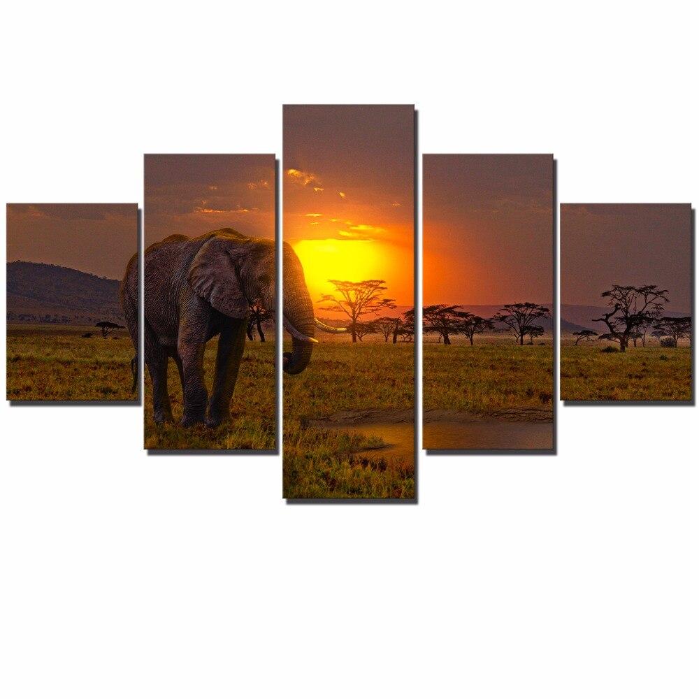 Aliexpress.com : Buy African Elephant Modular Wall Art