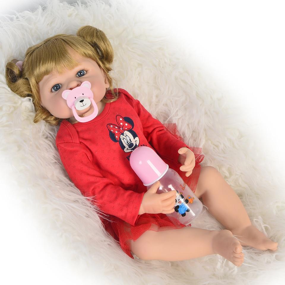 새로운 도착 22 인치 reborn 인형 전체 실리콘 바디 55 패션 현실적인 공주 장난감 아기 인형 아이 생일 선물 골드 헤어-에서인형부터 완구 & 취미 의  그룹 2