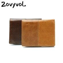 ZOVYVOL 2019 Short wallet Vintage Crazy Horse Genuine Leather Men Wallet Style Male Cowhide Card Holder Pocket