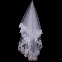 Women 150CM One Layer Lace Edge Wedding Veil Ivory Long Brid