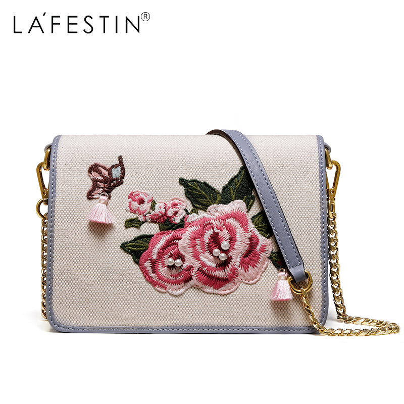 LAFESTIN Women Fashion Shoulder Bag Retro Vintage Floral Messenger Crossbody Bag Female New Metal Chain Flap Shoulder Bags bolso denim vintage quilted across bag women s blue jean plaid stylish brand fashion flap chain crossbody shoulder bag purse handbag