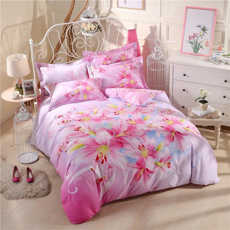 Floral print cartoon plaid bedding set queen size king - King size bed sheet set ...