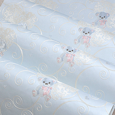 Sky Blue Child Bedroom Wallpaper Non-woven 3d Embossed Cartoon Bear Wallpaper Winnie The Kids Room Purple Background Wallpaper