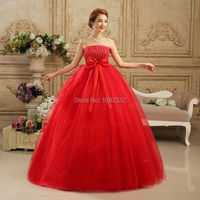 z 2016 new stock plus size women bridal gown wedding dress long big bow backless red sexy fashion 07