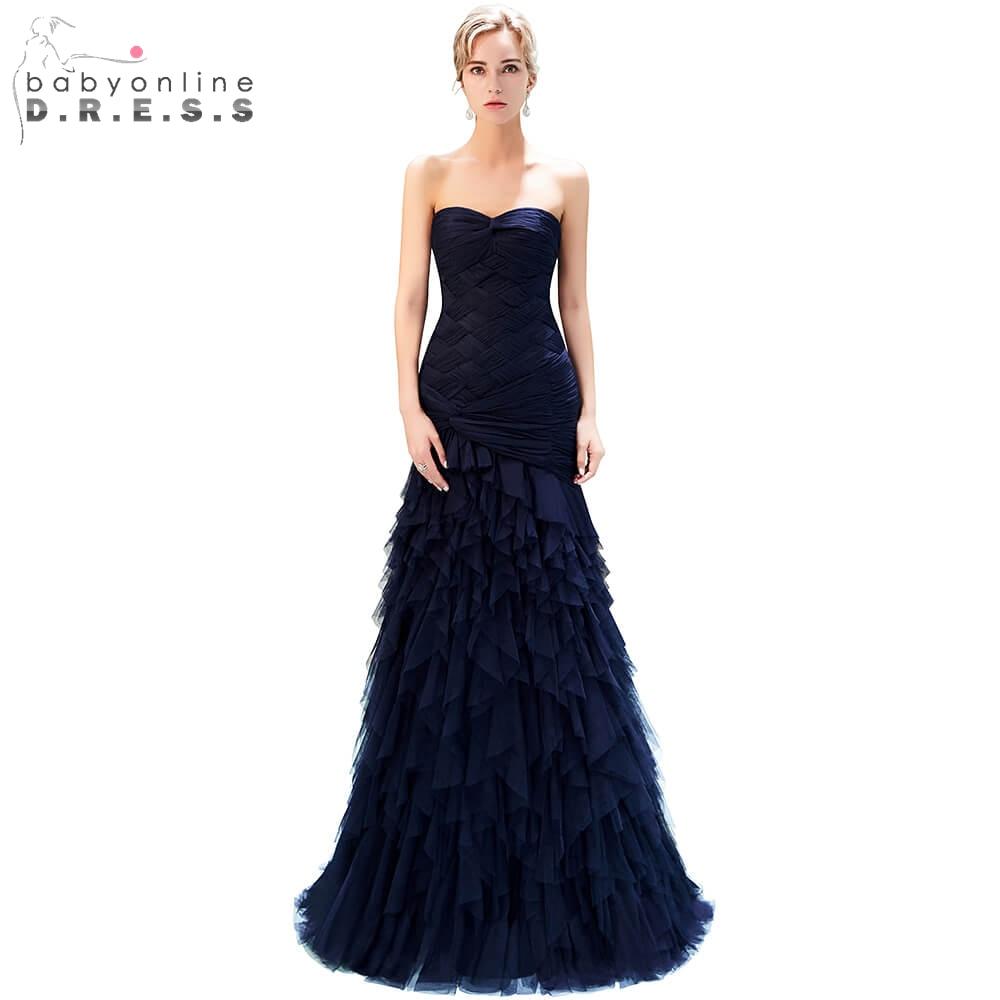 Sweetheart Draped Long Prom Dresses 2019 Elegant Navy Blue Mermaid Prom Gown Custom Make Size Formal Party Dress gala jurken