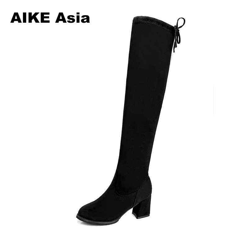 2019 frauen Casual Über Die Knie Stiefel Schuhe Winter Frauen Weibliche Runde Kappe Plattform High Heels Pumps Warm Schnee Stiefel mujer W391