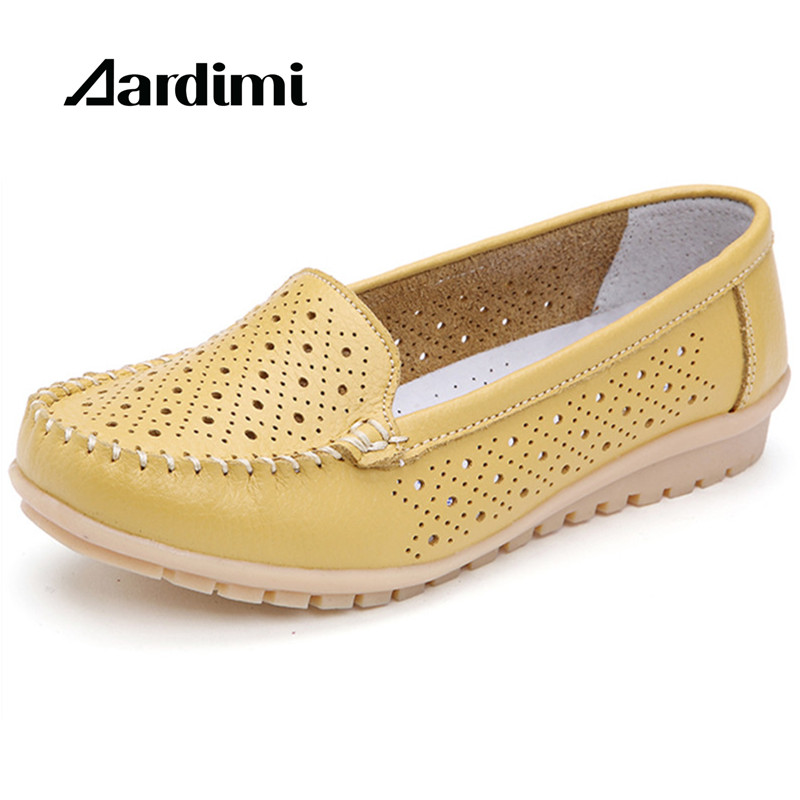 New arrival spring summer genuine leather women flats shoes solid casual loafers ladies mocassins women shoes ballet flats