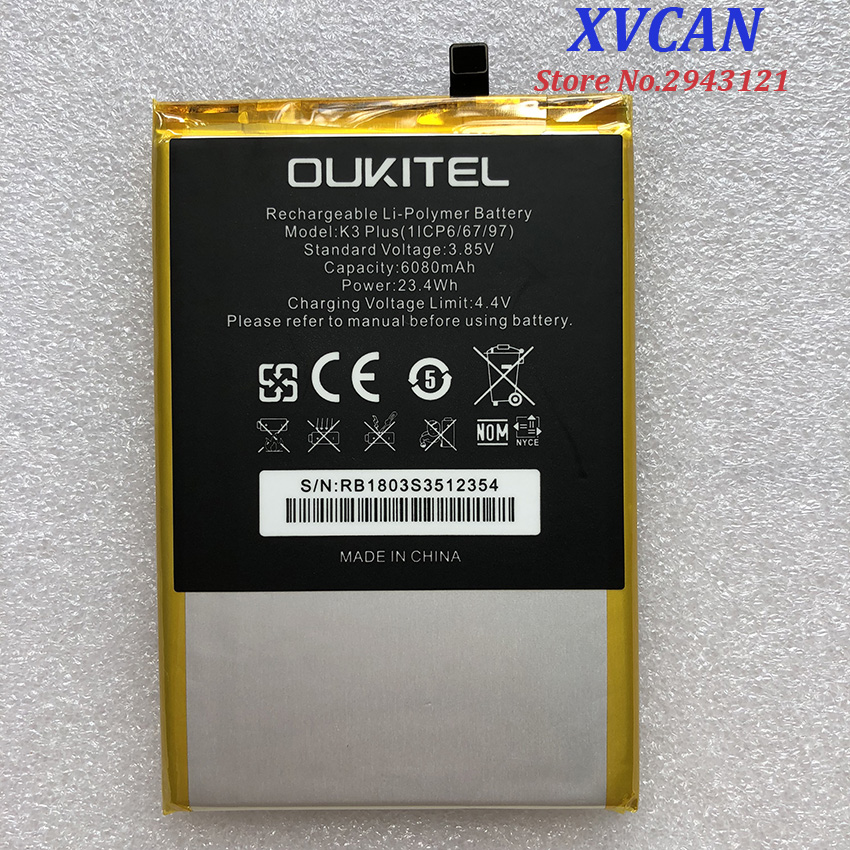 100% New OUKITEL K3 PLUS Replacement 6068mAh Parts backup battery for OUKITEL K3 PLUS Smart Phone